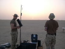 Spc. Hall and Ssg. Capell flying their UAV