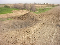 Side view of IED crater
