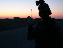 Spc. Lee on patrol right outside Hawejah